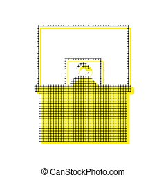 Information Desk sign. Vector. Yellow icon with square pattern d