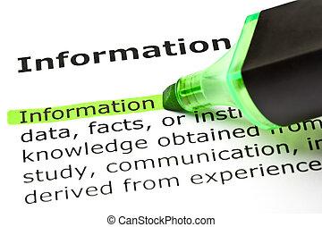 'information', destacado, em, verde