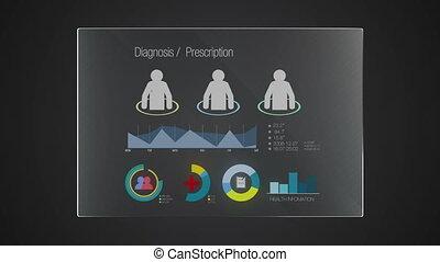 information, 'diagnosis', graphique, application, utilisateur, numérique, interface, technologie, exposer, panneau