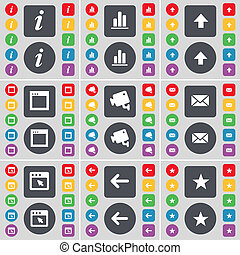 Information, Diagram, Arrow up, Window, CCTV, Message, Arrow left, Star icon symbol. A large set of flat, colored buttons for your design.