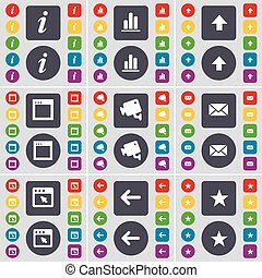 Information, Diagram, Arrow up, Window, CCTV, Message, Arrow left, Star icon symbol. A large set of flat, colored buttons for your design. Vector