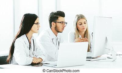 information., discuter, experts, monde médical, ligne, groupe
