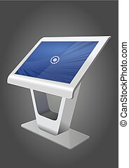information, display., écran, kiosque, haut, promotionnel, terminal, stand, gabarit, toucher, blanc, railler, interactif