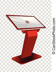 information, display., écran, kiosque, haut, promotionnel, terminal, stand, gabarit, toucher, interactif, railler, rouges