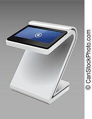 information, display., écran, kiosque, haut, promotionnel, terminal, stand, toucher, blanc, template., railler, interactif