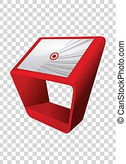 information, display., écran, kiosque, haut, promotionnel, terminal, stand, toucher, interactif, template., railler, rouges