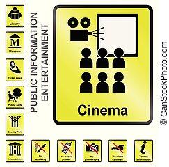 information, divertissement, signes