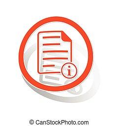 Information document sign sticker, orange