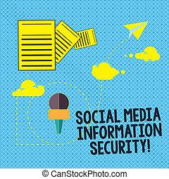 information, documents, security., média, projection, multimédia, hosting, jeûne, signe, services livraison, data., sécurité, ligne, photo, conceptuel, dépassement, travers, texte, nuage, social