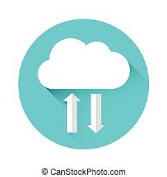 information, données, ligne, stockage, technologie internet, nuage, icône