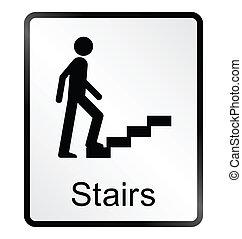 information, escalier, signe