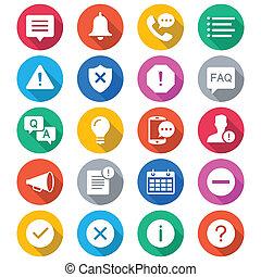 information, et, notification, plat, couleur, icônes