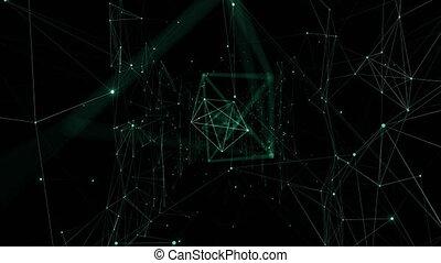 information, fait boucle, hd, réseau, animation., global, through., lumières, incandescent, grille, 4k, numérique, croissant, en mouvement, ultra, technologie, concept., 3840x2160., 3d