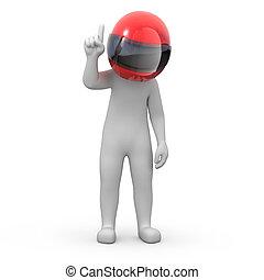 information for racers! 3d human points finger up. image...