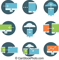 Information fransfer concept icons collection. Flat icons set is