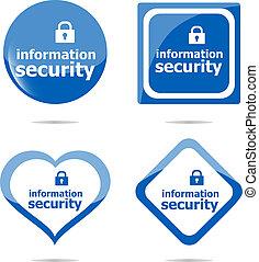 information, garanti, stickers, etikette, etiketten, sæt, isoleret, på hvide
