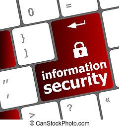 information, glose, privatliv, knap, klaviatur, hængelås, computer, aflukket, ind, garanti, concept:, ikon