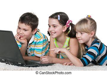 information, gosses, ordinateur portable, trois, internet, utilisation, lecture