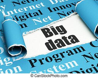 information, grand, déchiré, données, papier, noir, sous, morceau, texte, concept: