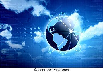 information, grand, technologie, calculer, image, arrière-plans, ou, conception, conceptuel, internet., principal, ton, nuage