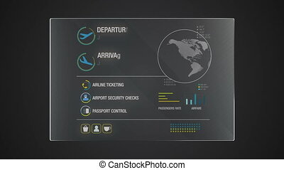 Information graphic technology panel 'Airplane' user interface digital display application