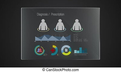 Information graphic technology panel 'Diagnosis' user interface digital display application