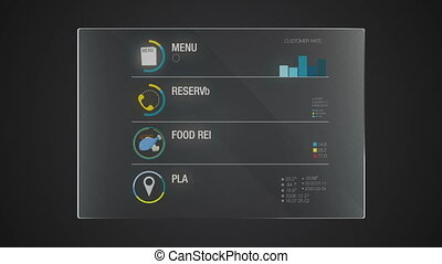 Information graphic technology panel 'Food' user interface digital display application