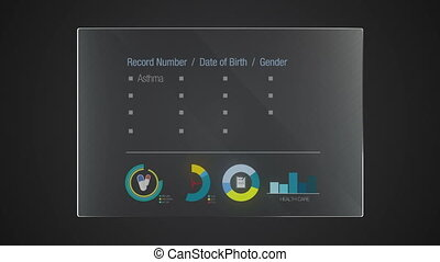 Information graphic technology panel 'Health Record' user interface digital display application