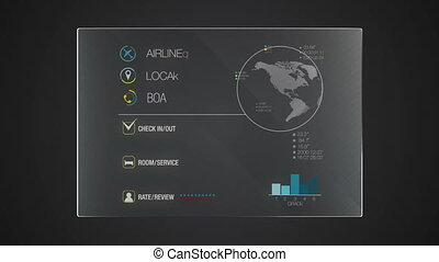 Information graphic technology panel 'Hotel' Record' user interface digital display application(included alpha)