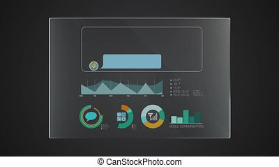 Information graphic technology panel 'Message' user interface digital display application