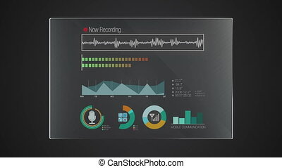 Information graphic technology panel 'Recording' user interface digital display application