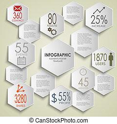 information, graphique, affiche, résumé, gabarit, hexagone