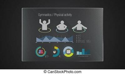 information, graphique, application, utilisateur, numérique, interface, 'physical, education', technologie, exposer, panneau