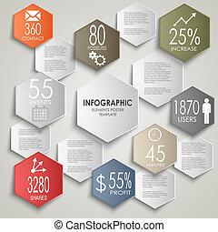 information, graphique, coloré, affiche, résumé, gabarit, hexagone