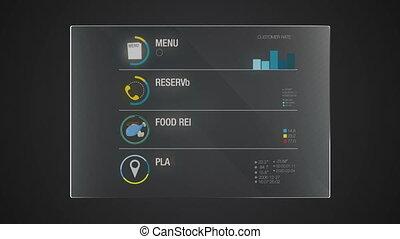 information, graphique, 'food', application, utilisateur, numérique, interface, technologie, exposer, panneau
