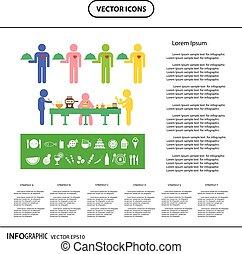 information, graphique, nourriture, boisson, dîner, icône