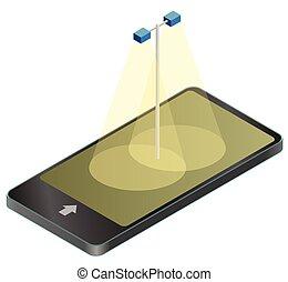 information, graphique, téléphone, mobile, lumière, arrière-plan., rue, blanc