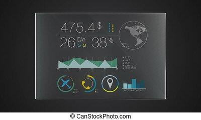 information, graphique, 'travel', application, utilisateur, numérique, interface, technologie, exposer, panneau