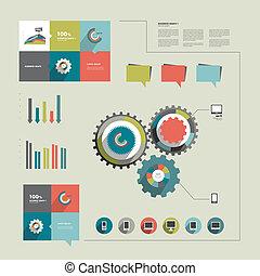 information, graphiques, collection, plat