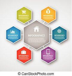 information, graphiques, -, hexagone