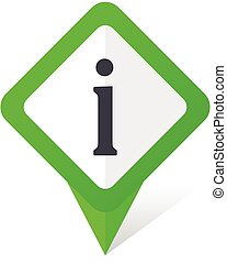 Information green square pointer vector icon in eps 10 on white background with shadow.
