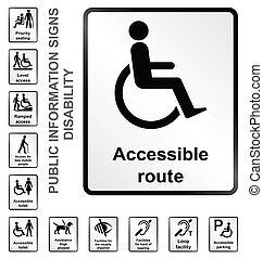 information, handikapp, undertecknar