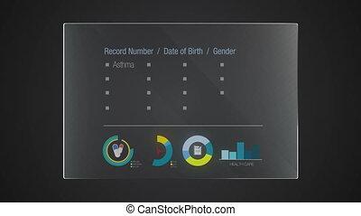 information, 'health, graphique, record', application, utilisateur, numérique, interface, technologie, exposer, panneau