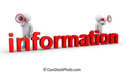 information, hommes, deux, porte-voix
