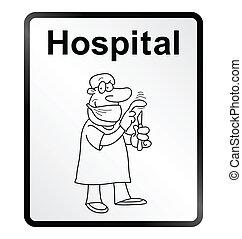 information, hospitalet, tegn