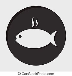 information icon - black circle, white grilling fish with smoke and shadow