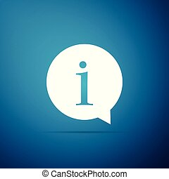 Information icon isolated on blue background. Flat design. Vector Illustration