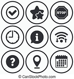 Information icons. Stop prohibition symbol. - Clock, wifi...