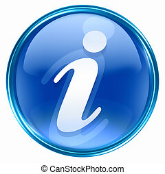 information, ikon, blå