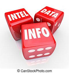 information, information, intel, 3, mots, données, trouver, rouges, dés